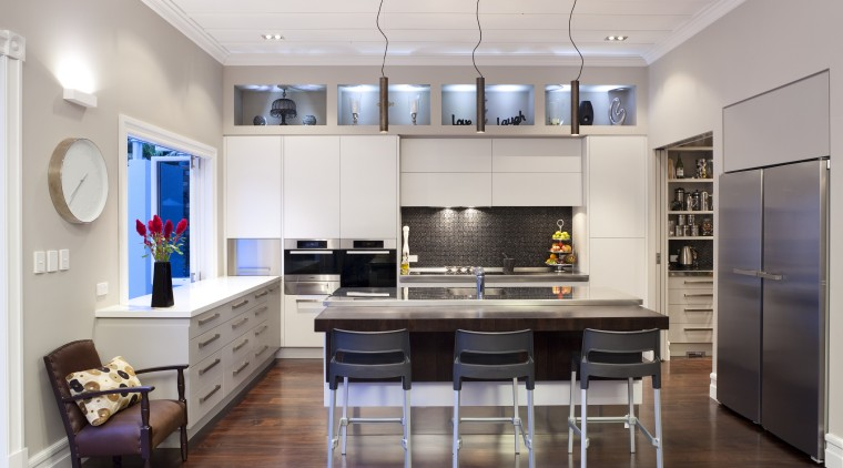 wide shot of entire kitchen, front-on ceiling, countertop, interior design, kitchen, living room, real estate, room, gray