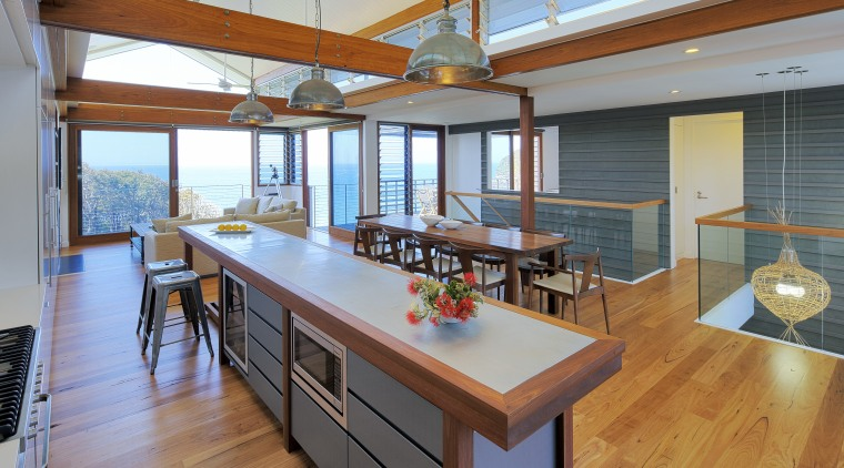 The blue-grey zinc panels on this kitchen island countertop, house, interior design, kitchen, real estate, wood, gray, brown
