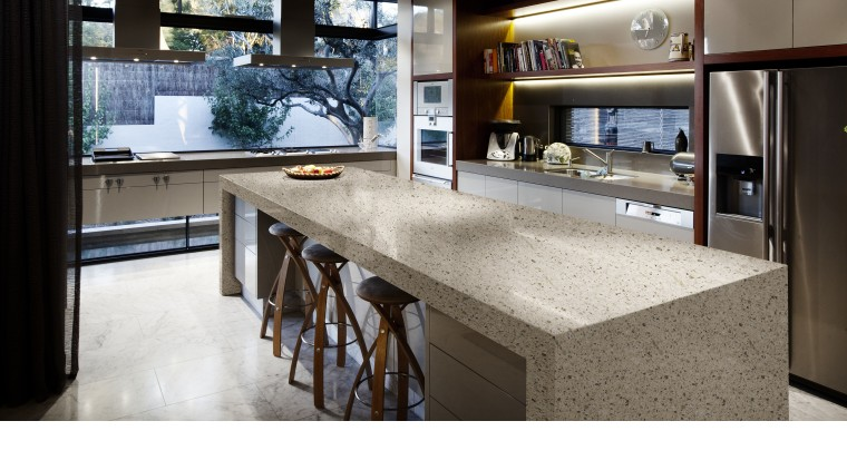 Kitchen with contemporary island with DuPont surface. countertop, interior design, kitchen, table, white, black