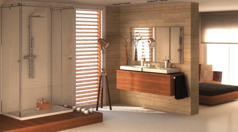 Bathroom with wooden vanity, brick feature wall and bathroom, cabinetry, floor, flooring, interior design, room, wood, brown, orange