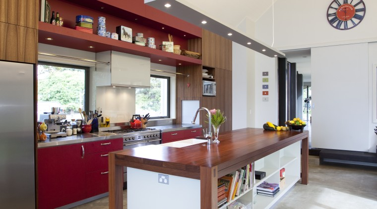 This home was painted with Resene Pohutukawa red, countertop, floor, interior design, kitchen, real estate, white