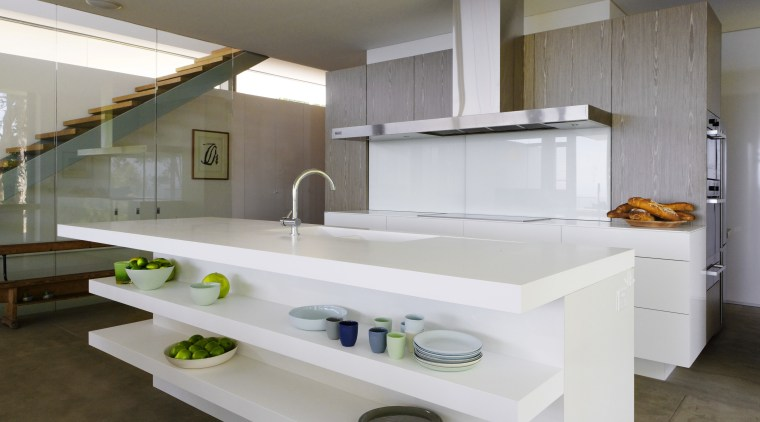 white island with cantilevered shelves at front countertop, cuisine classique, interior design, kitchen, sink, gray