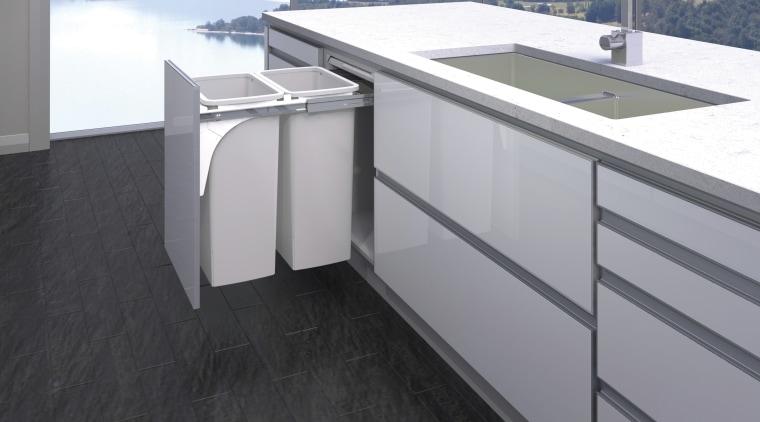 Never part of the scenery, Hideaway Bins keep countertop, floor, glass, gray, black
