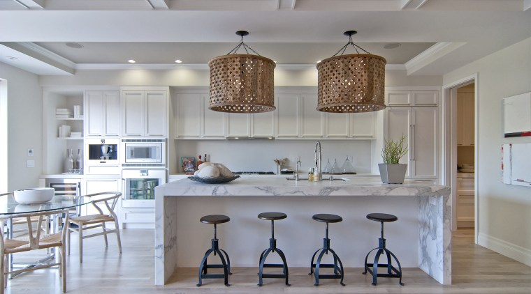 This kitchen was designed by Scott Martin of ceiling, countertop, cuisine classique, dining room, home, interior design, kitchen, room, gray