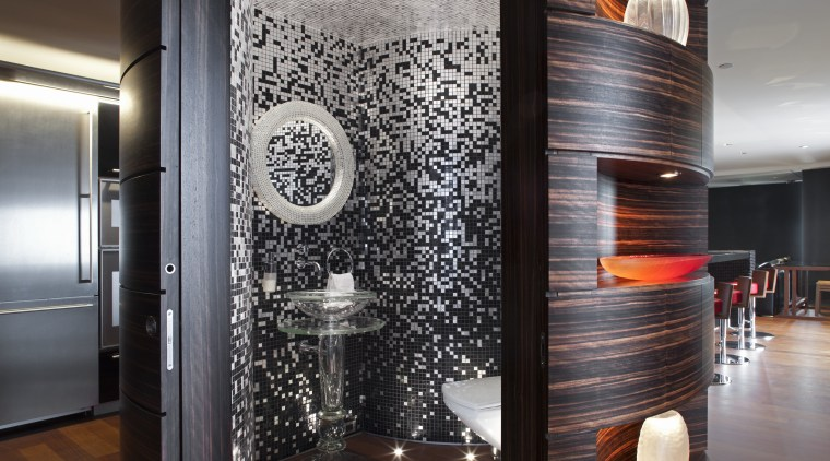 This powder room is contained within a cylinder-shaped ceiling, flooring, interior design, black, gray