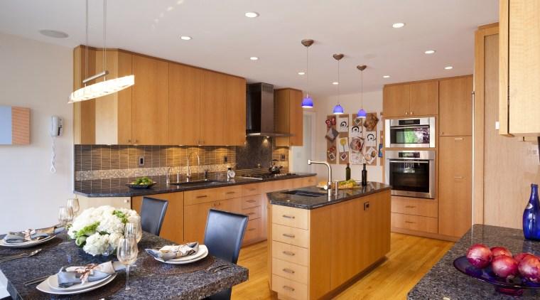 Seen here is a kitchen designed by Roberta countertop, cuisine classique, interior design, kitchen, real estate, room, gray, orange