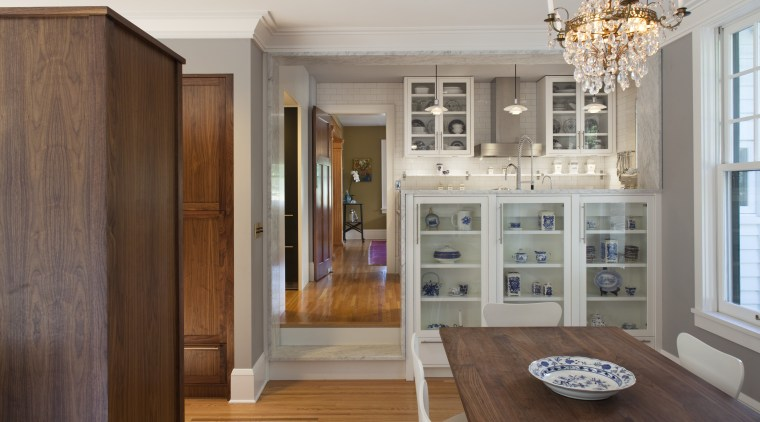 Seen here is a kitchen which was remodelled cabinetry, floor, hardwood, home, interior design, kitchen, room, wood flooring, gray, brown