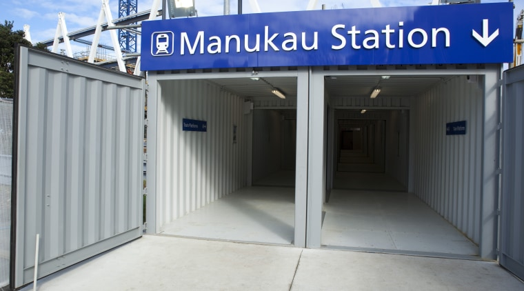 Manukau train station building, real estate, structure, gray