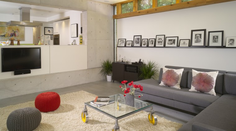 This house was transformed in a two-stage remodel floor, interior design, living room, real estate, room, gray
