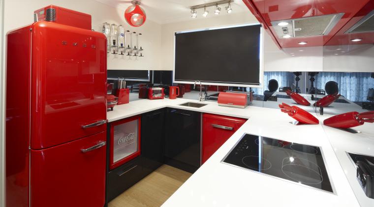 Kitchen view, including fridge. interior design, red, white, red