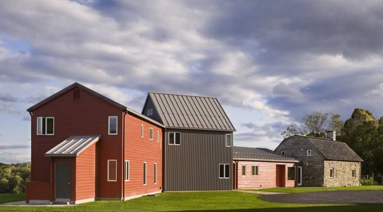 Architect Alexander Gorlin distilled the essence of a architecture, barn, building, cottage, elevation, estate, facade, farmhouse, home, house, property, real estate, residential area, roof, shed, sky, gray