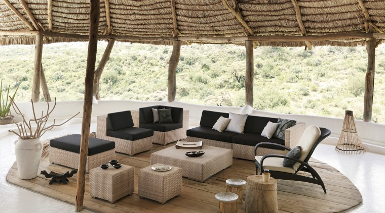 Here is a view of furniture from Dedon, chair, furniture, interior design, living room, outdoor furniture, property, sunlounger, table, wicker, brown, white