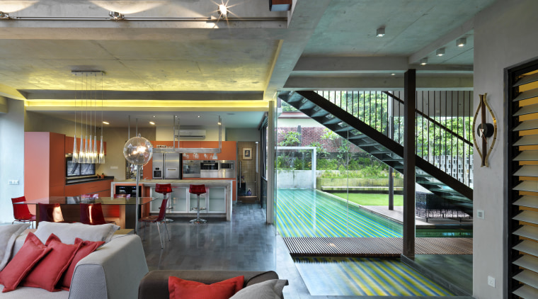 The use of off-form concrete for the walls architecture, ceiling, estate, home, house, interior design, property, real estate, window, gray