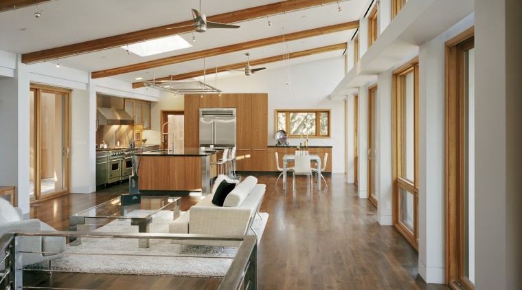contemporary timber kitchen with granite benchtops and wooden ceiling, daylighting, floor, flooring, hardwood, house, interior design, living room, loft, real estate, wood, wood flooring, gray, brown