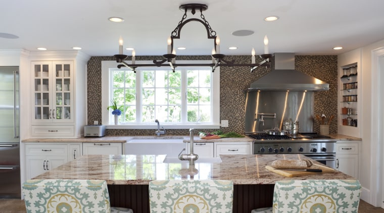 Country style family kitchen ceiling, countertop, dining room, home, interior design, kitchen, living room, real estate, room, table, window, gray