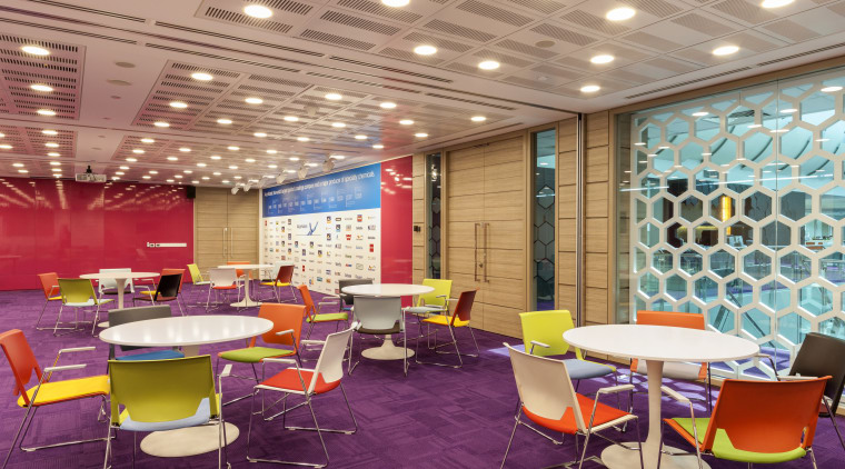 AkzoNobel House (Singapore) Interior design cafeteria, ceiling, conference hall, function hall, furniture, interior design, lobby, office, table, orange