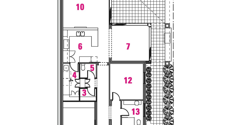 Plan of cottage renovation by Craig Steere Architecgts architecture, area, diagram, drawing, floor plan, line, plan, product design, white