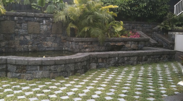 Waterworks Irrigation offers a variety of pool options backyard, courtyard, garden, grass, landscape, landscaping, outdoor structure, plant, stone wall, walkway, wall, yard, black