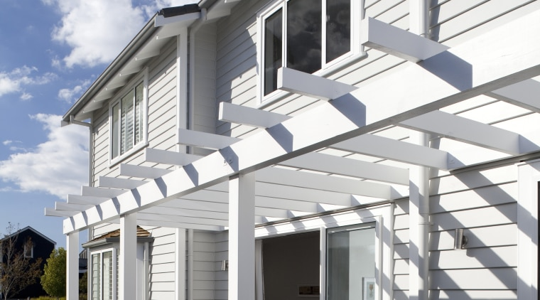 Landmark Homes show homes using James Hardie Building building, elevation, facade, home, house, porch, property, real estate, residential area, siding, structure, window, gray