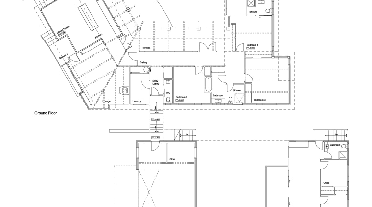 plans wide-ranging renovation by Mason & Wales Architects angle, architecture, area, black and white, design, diagram, drawing, elevation, floor plan, line, plan, product, product design, schematic, structure, technical drawing, text, white