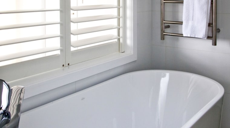 Soft neutrals and whites feature in the living bathroom, bathtub, floor, interior design, plumbing fixture, property, room, tap, window, gray