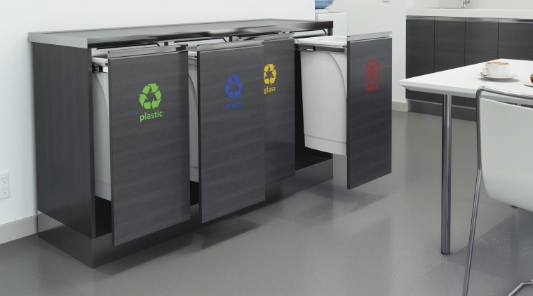 Hideaway Bins offer an easy way to achieve product, product design, recycling bin, waste container, waste containment, gray, black, white