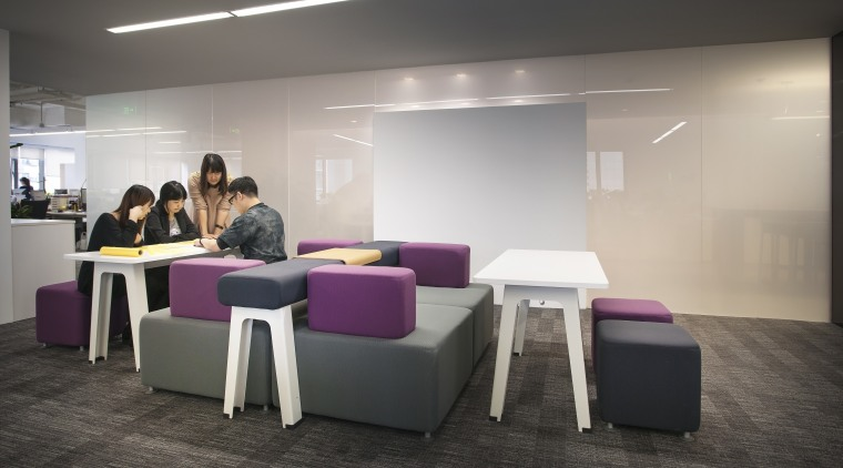 futuristic own Beijing office design by M Moser furniture, interior design, office, product design, table, gray, black