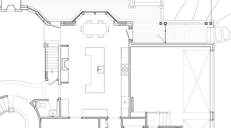 Inviting family kitchen - by Rill Architects angle, architecture, area, artwork, black and white, design, diagram, drawing, floor plan, home, line, line art, plan, product, product design, residential area, structure, technical drawing, white