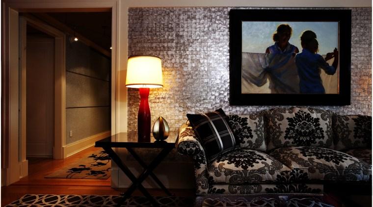 The salon in this Manhattan apartment interior features furniture, home, house, interior design, living room, room, window, black