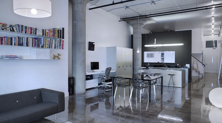 Strength of character – loft makeover by architect architecture, ceiling, interior design, loft, table, gray