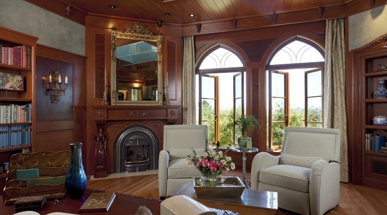 Inspired by classic children's stories, this concealed retreat ceiling, estate, home, interior design, living room, lobby, real estate, room, window, red, brown