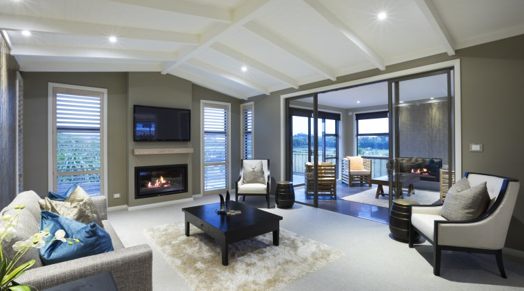 High-spec show home – the Ridgeview by Harwood ceiling, estate, home, interior design, living room, penthouse apartment, property, real estate, room, window, gray