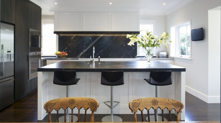 This classic kitchen by Robyn Labb offers modern countertop, interior design, kitchen, real estate, room, gray