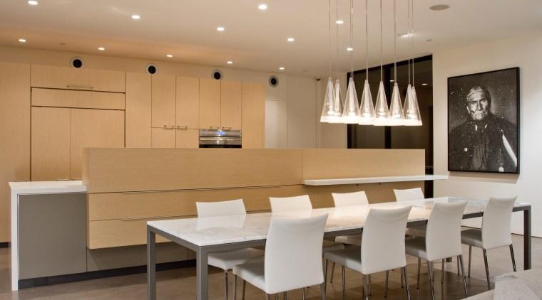 Minimalist desert new house ceiling, dining room, furniture, interior design, kitchen, room, table, orange, gray, brown
