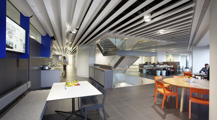 The ANZ Centre refurbishment was undertaken by Warren ceiling, interior design, gray
