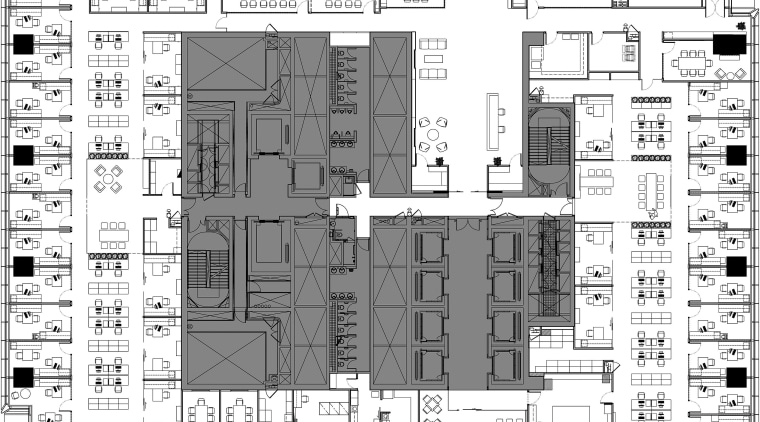 The Clifford Chance offices occupy an entire floor. architecture, area, black and white, building, design, elevation, engineering, floor plan, font, line, monochrome, pattern, plan, product design, residential area, schematic, structure, text, urban design, white