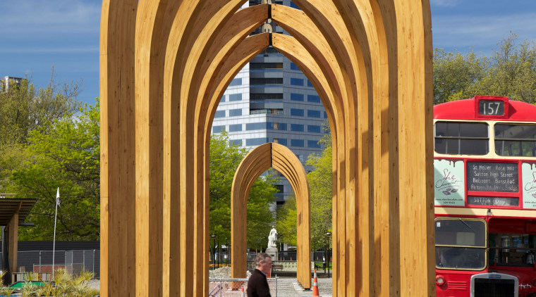 The Arcades is a collaboration between Ryan Reynolds, arch, architecture, sky, structure, wood, gray