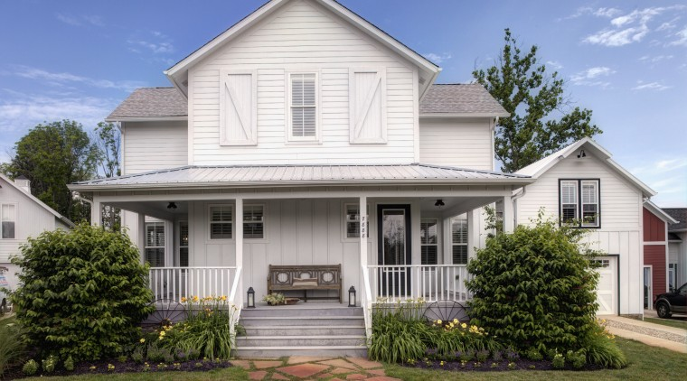 Front facade of a white, three-storey, Amish-style home, building, cottage, elevation, estate, facade, farmhouse, historic house, home, house, neighbourhood, property, real estate, residential area, roof, siding, suburb, window, teal