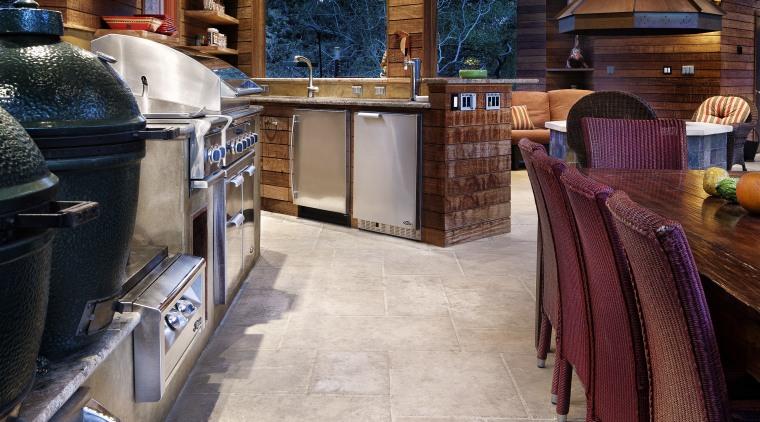 Rustic, weathered ipe siding lines the interior of floor, flooring, hardwood, interior design, restaurant, wood, wood flooring, gray