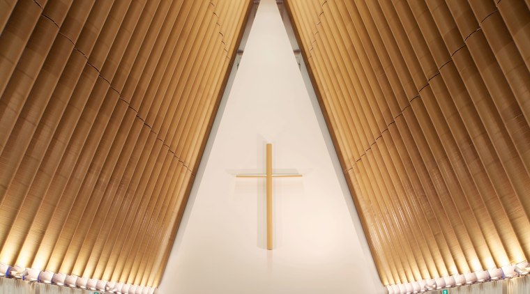 Resene paints feature throughout the new Christchurch Transitional aisle, architecture, ceiling, chapel, daylighting, function hall, interior design, place of worship, symmetry, wood, brown