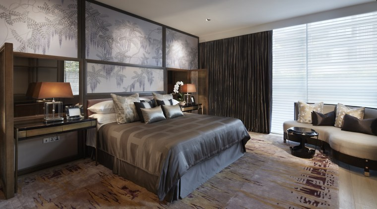 Bronzed mirrors feature behind the two nightstands in bed frame, bedroom, ceiling, floor, interior design, room, wall, window, wood, gray, black