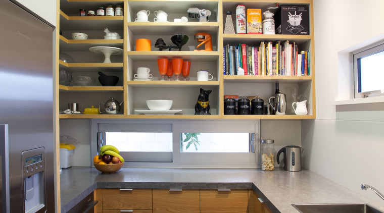 The scullery in this kitchen provides additional bench cabinetry, countertop, interior design, kitchen, room, gray