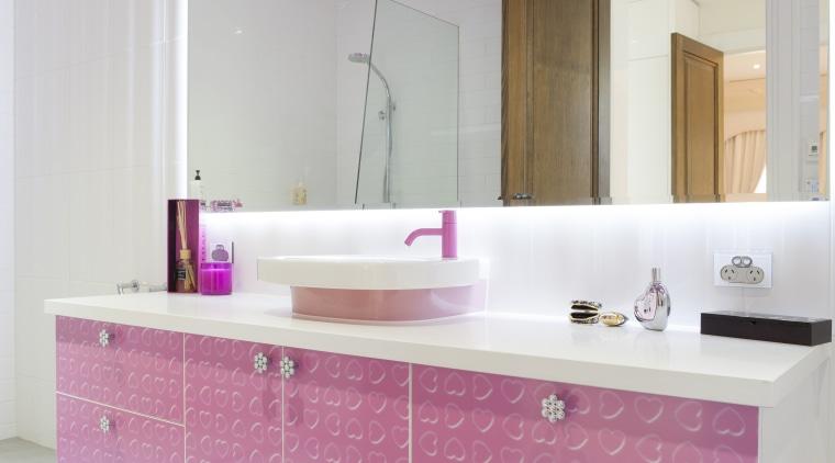 Girl's pink bathroom bathroom, bathroom cabinet, cabinetry, countertop, floor, flooring, interior design, kitchen, pink, product design, purple, room, sink, tile, wall, gray