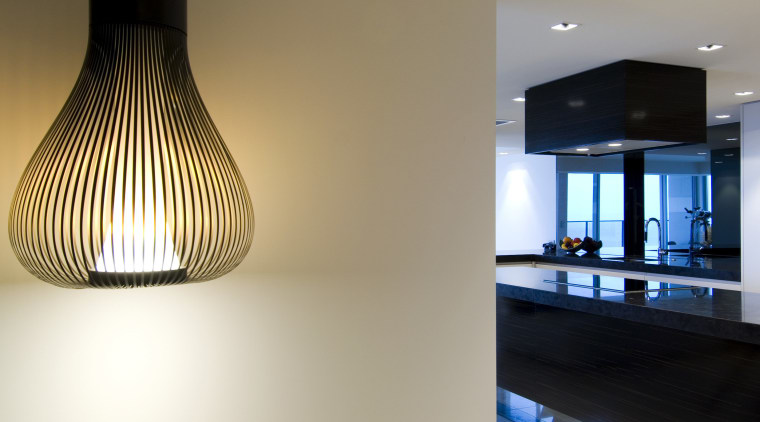 Apartment interior by Ellivo Architects ceiling, daylighting, floor, flooring, interior design, lamp, light, light fixture, lighting, lighting accessory, product design, gray, brown