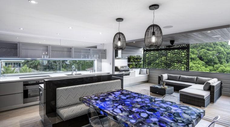 This multi-use space by designer Kim Duffin has home, interior design, kitchen, real estate, white