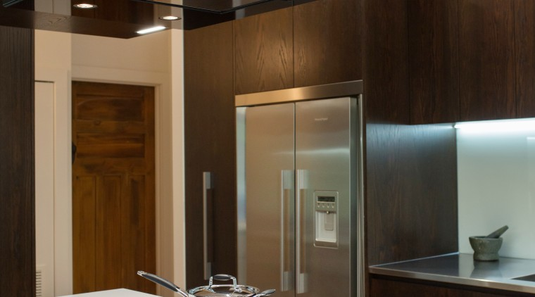 Contemporary kitchen with Fisher & Paykel appliances.  architecture, cabinetry, countertop, house, interior design, kitchen, black