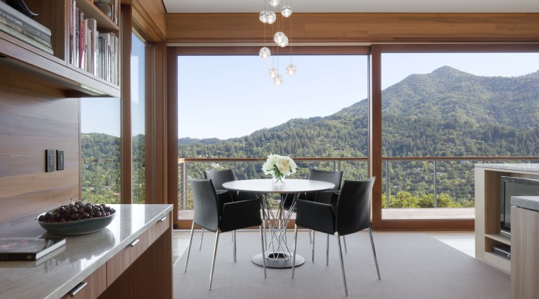 This round Noguchi table provides the perfect place architecture, house, interior design, property, real estate, window, gray