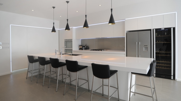 Clean lined and crips.  this kitchens monochromatic architecture, countertop, floor, flooring, furniture, interior design, kitchen, product design, real estate, table, gray