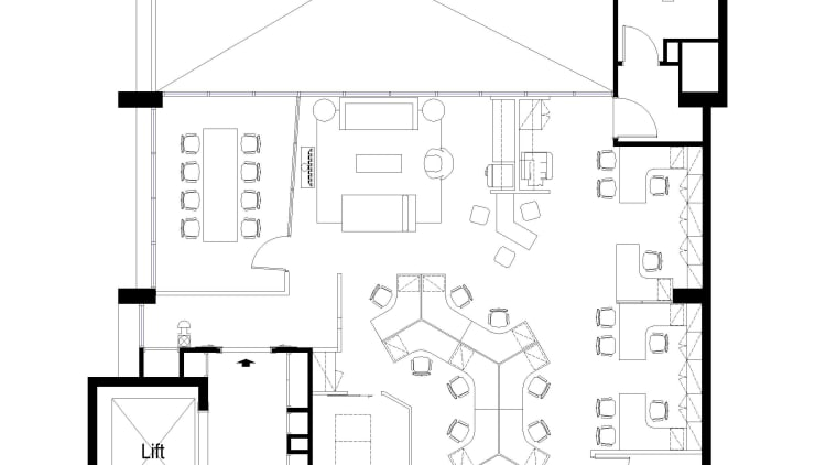 Floor plan for Warners Music shows generous connection angle, architecture, area, black and white, design, diagram, drawing, floor plan, font, line, plan, product, product design, schematic, square, structure, text, white