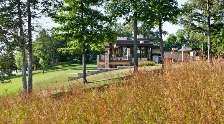 Modern lakeside home cottage, estate, grass, home, house, land lot, nature reserve, property, real estate, tree, brown